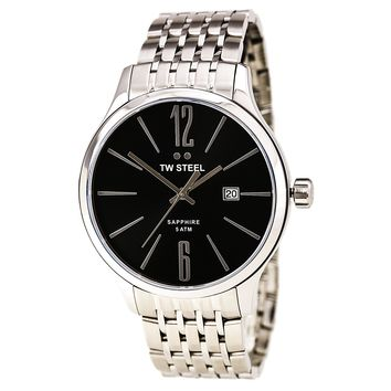 TW Steel TW1306 Men's Slim Line Black Dial Stainless Steel Bracelet Watch