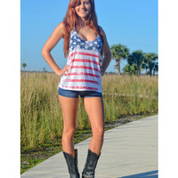 Loose Fitting American Flag Tank - White