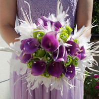 17 piece Real Touch Lavender Calla Lily White Feather Bridal Bouquet Wedding Bouquet set, White Lavender Lime Bouquet, Calla Lily Bouquet