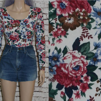 90s Floral Bodysuit blouse boho grunge gypsy festival hipster pastel goth Cyber Club Kid S M Shirt top White Ivory Print