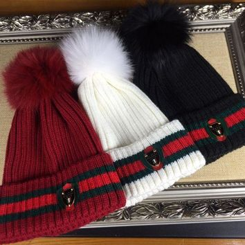 GUCCI Fashion Women Men Casual Knit Pom Hat Cap(3-Color) I