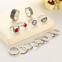 14pcs/Set Silver Color Moon And Sun Midi Female Ring Set