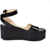 Prada Platform Sandals Ankle Strap Creepers Black Leather US 8 UK 38