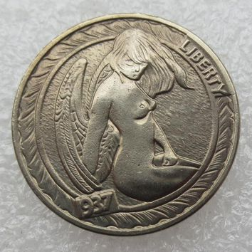 Type:#02 Hobo Nickel 1937-D 3-Legged Buffalo Nickel Rare Creative Naked Woman Copy Coin High Quality