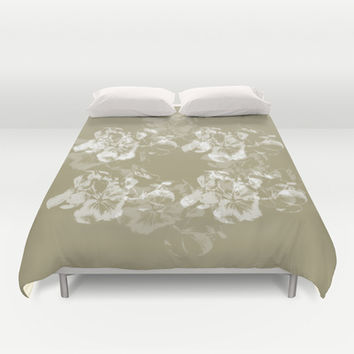 Neutral Floral Duvet Cover by Anchor Eight