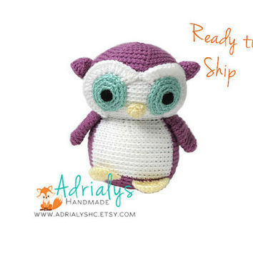 Crochet Owl- Stuffed Owl- Woodland Nursery- Woodland Animals- Forest Animals- Handmade Owl- Crochet Toy- Amigurumi- Ready to Ship