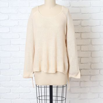 Beige Knit Lace-Up Sweater