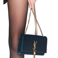 Saint Laurent Small Velvet Monogramme Kate Tassel Chain Bag in Dark Deep Sea | FWRD