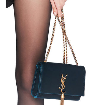 192884da944f Saint Laurent Small Velvet Monogramme Kate Tassel Chain Bag in Dark Deep  Sea
