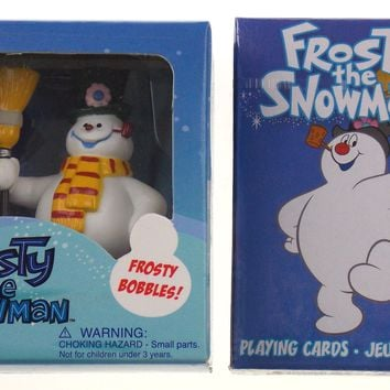 Frosty The Snowman Bobble Figurine Book Playing Cards Set 2 Bobbler Head