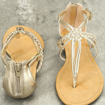 Report Lamont Gold Thong Sandals