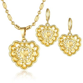 Women Vintage African Hoop Earrings Pendant Necklace Set Gold Color Dubai Wedding Jewelry Set
