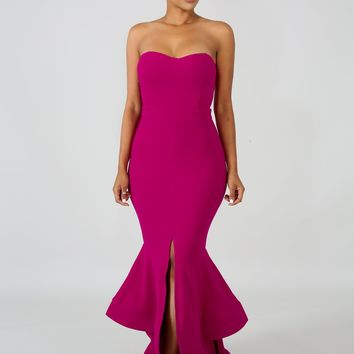 Kristie Magenta Pink Ruffle Mermaid Hem Maxi Dress