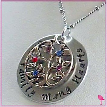One Family Many Hearts Family Tree Bling Chicks Necklace