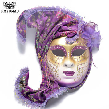 PMYUMAO Halloween Masquerade Mask High-quality Venice Antique Painting Masks with Full Face Party Mask Female Performance Masks