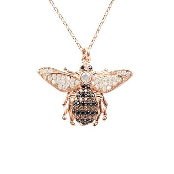 22CT Rose Gold Honey Bee Pendant Necklace