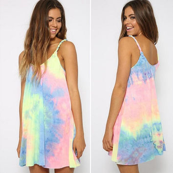 Womens Neon Tie Dye Dress