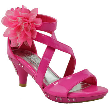 Toddler & Youth Tulle Flower Low Heel Sandal