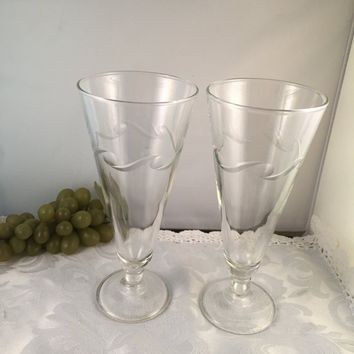 #0063 Pair of beer glasses etched