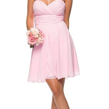 Short Chiffon Bridesmaid Light Pink Dress Sweetheart Neck Corset Back