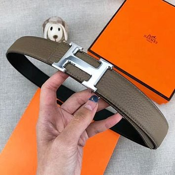 Hermes Fashion New Letter Buckle Women Men Leather Leisure Belt