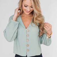 With or Without You V-Neck Button Blouse- Sage