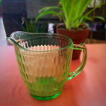 GREEN GLASS PITCHER Teleflora collectible great water pitcher