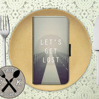 Lets Get Lost Road Photography Clouds Tumblr Inspired Cute Wallet Phone Case For iPhone 4/4s and iPhone 5 and 5s and 5c iPhone 6 and 6 Plus