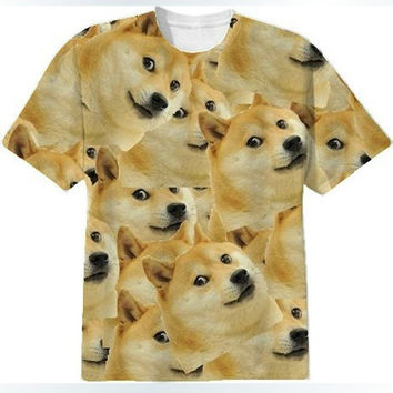New Women/Men Funny Head doge 3D Short sleeve T-shirt God dog/shiba inu print 3D Tees Tops plus size