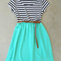 Stripes & Mint Dress [5893] - $36.00 : Feminine, Bohemian, & Vintage Inspired Clothing at Affordable Prices, deloom
