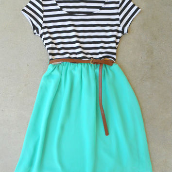 .Stripes & Mint Dress [5893] - $37.80 : Vintage Inspired Clothing & Affordable Dresses, deloom | Modern. Vintage. Crafted.