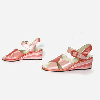 Vintage 50s Pearly Pink Sandals / 1940s Two-Tone Open Toe Ankle Strap Wedge Heels 8