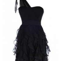 One Shoulder Ruffle Dress - Kely Clothing