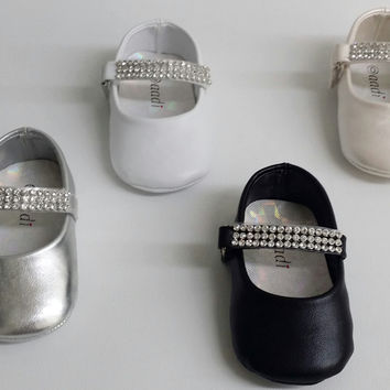 Infant Toddler Girls Little Angel AADI049 WEDDING PAGEANT Rhinestone Flats Crib Shoes
