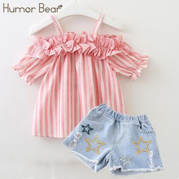 Humor Bear Girls Clothes 2018 Brand Stripe Design Girls Clothing Sets baby clothes Condole Belt Tops+Pant 2-6Y