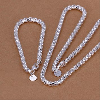 High quality  silver plated  jewelry sets temperament exquisite fashion men round grid necklace bracelets S058