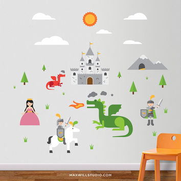 Knights & Dragons Wall Decals