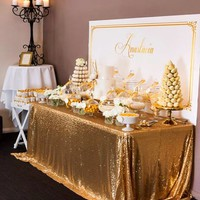 8FT Banquet Gold Sequin Table Cloth Large 90x156inch Gold Sequin Tablecloths for Weddings Sequin Table Linens Events Decoration