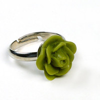 Handmade Olive Green Rose Ajustable Ring Size 5 - Size 6 - Size 7