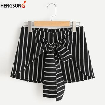 Summer Women Beach Shorts Black And White Striped Fitness Shorts Hot Pants High Waist Athletic Shorts For Women Female Femme
