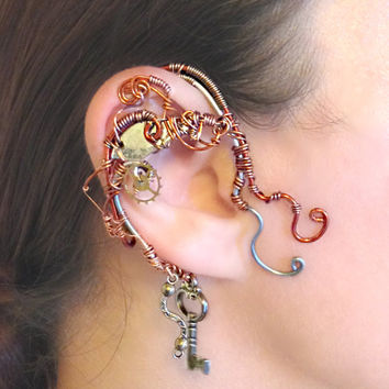 Copper Steampunk Wire Wrap Ear Wrap