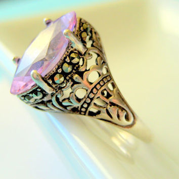 Pink Topaz Sterling Filigree Ring with Marcasites