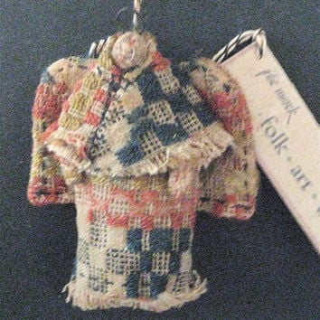 "Primitive Folk Art Angel-""PRAIRIE ANGEL""--Original Handcrafted From an 1800's Antique American Coverlet"