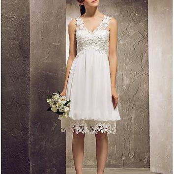 A-Line / Princess V Neck Knee Length Chiffon / Lace Bridesmaid Dress with Lace / Pleats by LAN TING BRIDE®