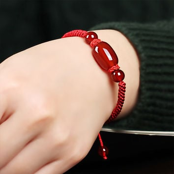 Natural  Agate Shambala Bracelet Adjust Handmade Lucky Red Rope  Bangle  Wax String