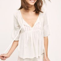 Eloise Embroidered Zoe Top in Cream Size: