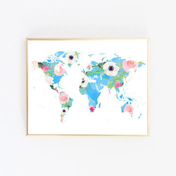 World map wall decor World map wall art Map poster Nursery world map Floral watercolor print Floral art print Poster map Map art prints