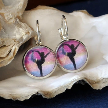 Yoga Dancer Pose Earrings Behind Glass/ Gorgeous Sunset with Black Silhouette/ Silver Tone Earwires Leverbacks