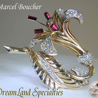 Exquisite Marcel Boucher Ruby White Rhinestone Gold Lily Brooch Vintage Jewelry