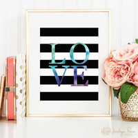 Faux holographic foil LOVE, printable wall art decor, black and white stripes, art for office, art for home (Instant digital download - JPG)